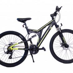 Bicicleta MTB Full Suspensie UMIT Kratos 2D, culoare galben, roata 26