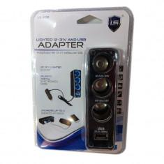 Priza auto LS-0035, 3 iesiri, 1 x USB, Negru - Ghidaj rulment presiune
