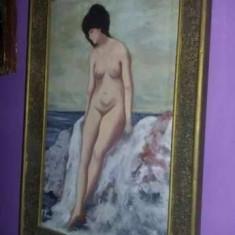 Pictura NUD LA MALUL MARII,TABLOU vechi N.GRIGORESCU,Pictura pe panza semnata, CONSTION, Ulei