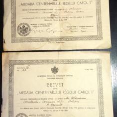 LOT BREVET MEDALIA CENTENARULUI REGELUI CAROL I