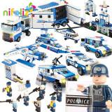SET DE CONSTRUCTIE 6in1 TIP LEGO URIAS,POLITIA IN ACTIUNE,1040 PIESE,CADOU SUPER, Unisex