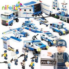 SET DE CONSTRUCTIE 6in1 TIP LEGO URIAS, POLITIA IN ACTIUNE, 1040 PIESE, CADOU SUPER, Unisex