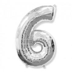 Balon Folie Figurina, Cifra 6, Argintiu, 85cm