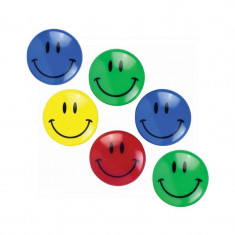 Magneti Smiley Face 30 mm, multicolor, set 6 bucati - Tabla de conferinta