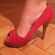 Pantofi Rosii - Pantof dama Zara, Culoare: Rosu, Marime: 38, Cu toc