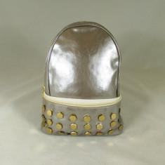 Rucsac/ghiozdan dama gri argintiu cu capse+CADOU - Rucsac dama, Piele ecologica