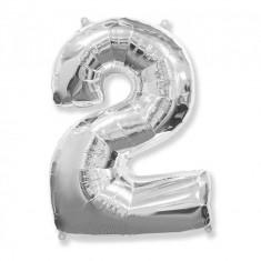 Balon Folie Figurina, Cifra 2, Argintiu, 85cm
