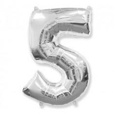 Balon Folie Figurina, Cifra 5, Argintiu, 85cm