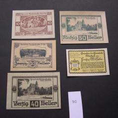 Lot 5 buc. notgeld, gutschein HAIDERSHOFEN si PIBERBACH diferite Austria aUNC, Europa