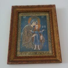Fecioara si Pruncul/ veche icoana litografiata - Icoana litografiate