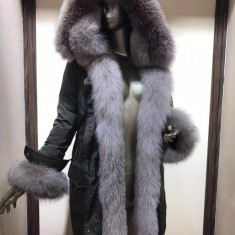Geaca dama monclr lunga - accesorizata cu blana de vulpe 2018 !, L, M, XL, Negru