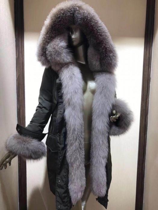Geaca dama monclr lunga - accesorizata cu blana de vulpe 2018 !