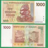 = ZIMBABWE 1000 DOLLARS 2007 P-71 UNC  =