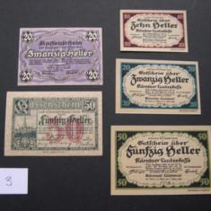 Lot 5 bucati notgeld, gutschein, kassenschein KARNTNER LANDES si WIEN diferite, Europa