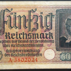 Bancnota istorica 50 Reichsmark - GERMANIA NAZISTA, anii 1938-1945 * cod 177 - bancnota america, An: 1944