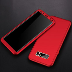 Samsung Note 8 - Husa 360 Plastic Rosie Fata Spate Si Folie Silicon - Husa Telefon, Rosu, Carcasa