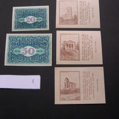Lot 5 bucati notgeld, kassenschein HINTERBRUHL si OBERHOLLABRUN diferite 1920, Europa