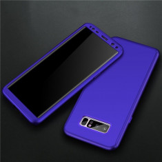 Samsung Note 8 - Husa 360 Plastic Albastra Fata Spate Si Folie Silicon - Husa Telefon, Albastru, Carcasa
