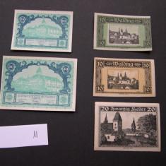 Lot 5 bucati notgeld, gutschein, kassenschein WALDING si OBERHOLLABRUNN aUNC, Europa