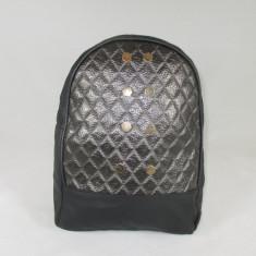Rucsac/ghiozdan negru cu capse piele ecologica+CADOU