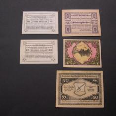 Lot 5 buc. notgeld, gutschein STADL-PAURA, SEEWALCHEN, SCHWERTBERG Austria, Europa