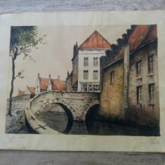 Bruges-Pont/ acuarela si penita, tus, datat 1945 - Pictor strain, Peisaje, Realism