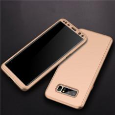 Samsung Note 8 - Husa 360 Plastic Aurie Fata Spate Si Folie Silicon - Husa Telefon, Auriu, Carcasa