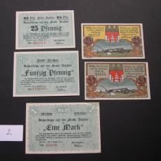 Lot 5 bucati notgeld ITZEHOE si HOYER diferite Germania 1920 aUNC #2, Europa