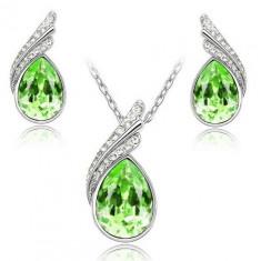 Lantisor placat cu argint si cercei piatra cristal verde - Lantisor placate cu aur
