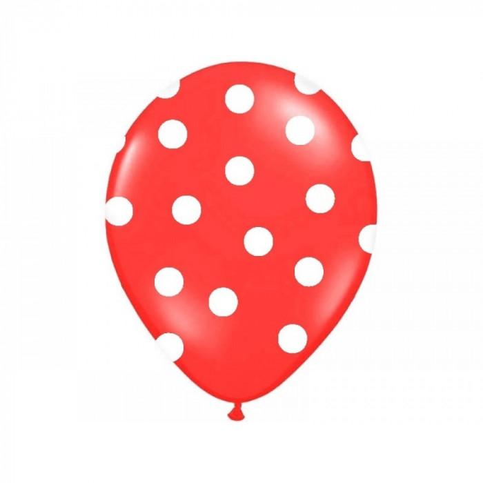 Baloane rosii cu buline albe, 30 cm, 5buc/set