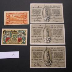 Lot 5 bucati notgeld, gutschein HORN (LIPPE) und DETMOD, HOYM si Hann. MUNDEN, Europa