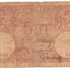 ROMANIA 5 LEI 1917 FAGURE U TIPARIT IN RUSIA - Bancnota romaneasca