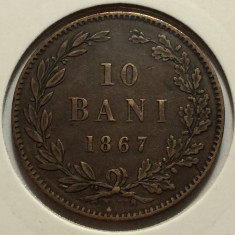 10 Bani 1867 Watt & Co, Bronz, Romania XF++ - Moneda Romania
