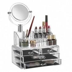 Organizator cosmetice din acril 4 sertare, 16 compartimente si Oglinda - Geanta cosmetice