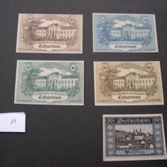 Lot  5 buc. notgeld, kassenschein, gutschein  ECKARTSAU si WALDING diferite aUNC, Europa