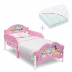 Set pat cu cadru metalic Princess+ saltea pat Dreamily - Pat tematic pentru copii