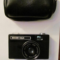 CI - Aparat foto film VILIA functional cu husa fabricat URSS Rusia - Aparat de Colectie