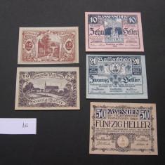 Lot 5 buc. notgeld, gutschein, kassenschein TRAISKIRCHEN si WALDBURG  diferite, Europa