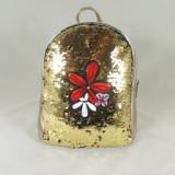 Rucsac/ghiozdan auriu cu paiete+CADOU - Rucsac dama