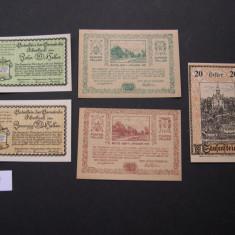 Lot 5 buc. notgeld, gutschein PIBERBACH, ZWETTL si SAUSENSTEIN diferite Austria, Europa