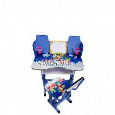 Birou Copii cu Masuta, Etajera si Scaun KT0023 Albastru - Masuta/scaun copii