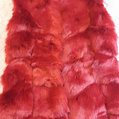 Vesta Dama blana artificiala, Marime: 36, Culoare: Rosu
