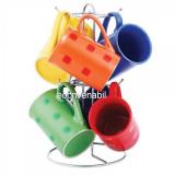 Set cani ceramica cu suport inox 7 piese VB6070045 280ml - Cana