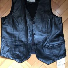 Vesta din piele, pentru bikeri/rockeri, EXCELLED, noua, neagra, marime XL - Imbracaminte moto