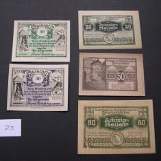 Lot 5 buc. notgeld, gutschein KREMSMUNSTER si GROSSARL diferite Austria, Europa