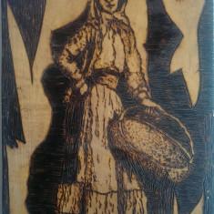 Tablouri pirogravate - Tablou autor neidentificat, Portrete, Pastel, Altul