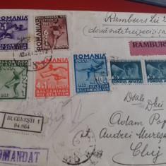 Romania 1937 scrisoare cu ramburs circulata cu seria intreaga - Timbre Romania, An: 1947, Transporturi, Nestampilat