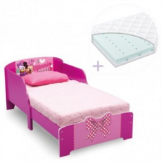 Set pat cu cadru din lemn Minnie Bowtique+ saltea Dreamily - Pat tematic pentru copii