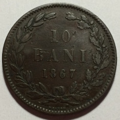 10 Bani 1867 Heaton, Bronz, Romania VF - Moneda Romania