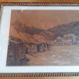 Peisaj grafica Dalnok ( Covasna) semnata Demjen Laszlo datata 1886 - Pictor roman, Peisaje, Carbune, Realism